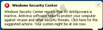 Windows Security Center pop up